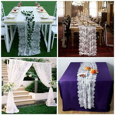 White Lace Table Runner Chair Sash Boho Wedding Party Tablecloth Table Cover](White Runner)