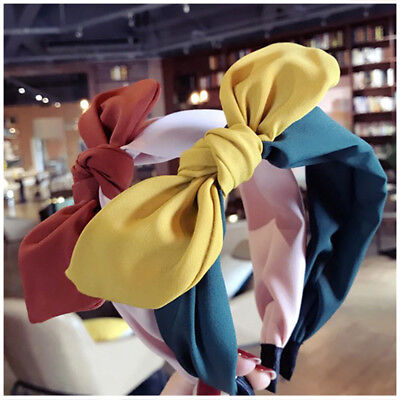 Women Girl Retro Chiffon Bow Bunny Wire Scarf Hair Head Band Headband (Bunny Head Band)