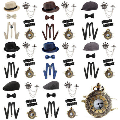 20's 1920s Gatsby Gangster Costume Accessories Set Newsboy Hats Suspenders Watch](20s Gangster Costumes)
