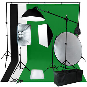 BW Backdrop Support Stand Photography Studio Video Softbox Lighting 3 Kit