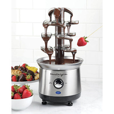 Nostalgia Stainless Steel Cascading Chocolate Fondue Fountain - 2-Pound Capacity