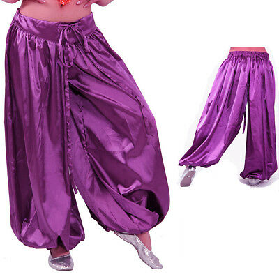 US2 Women Satin Harem Yoga Pant  Belly Dance Costume Satin Fancy Pants Plus - Plus Size Harem Girl Costume