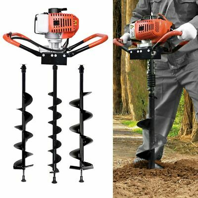 Us Earth Auger Post Hole Digger Borer 3 X Drill Fence With Extension Pole 52cc
