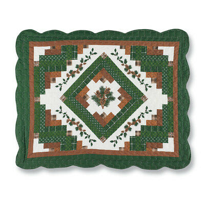Scalloped Woodland Pinecone Lodge Patchwork Pillow Sham, by Collections Etc ()