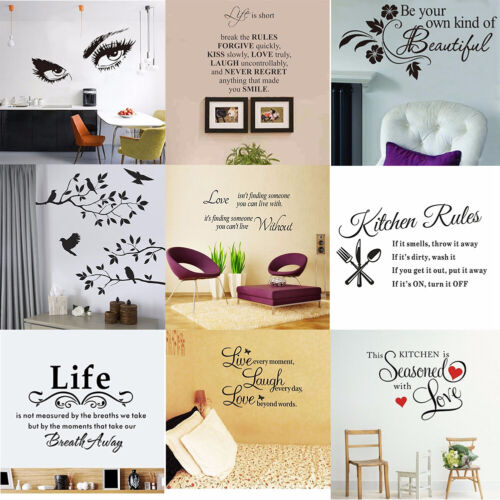 Home Decoration - Vinyl Home Room Decor Art Quote Wall Decal Stickers Bedroom Removable Mural DIY