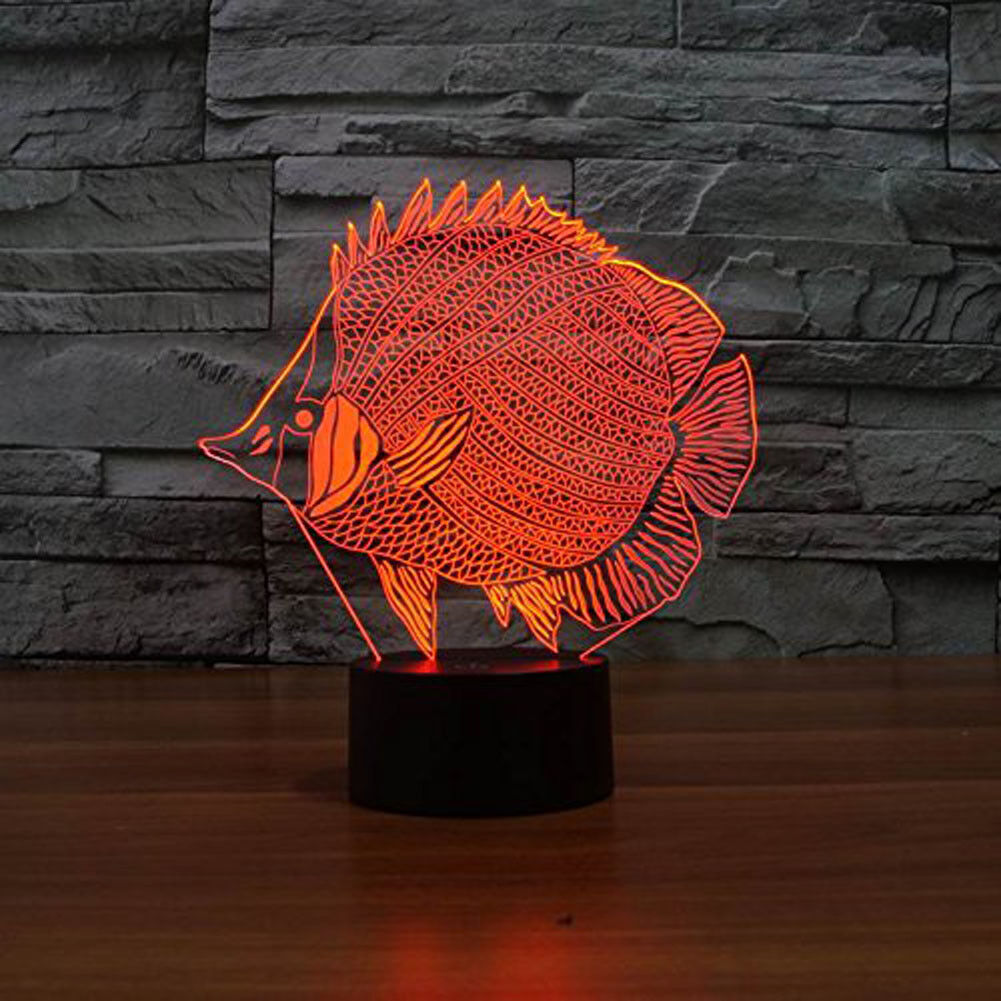 Fish 3D Lamp Bedroom Night Light Multi 7Color Change Nightlight for Modern Decor