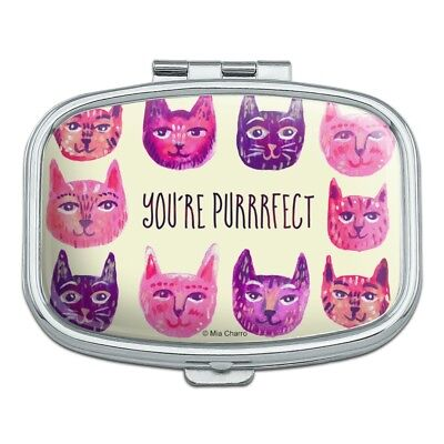 (You´re Purrrfect Perfect Cat Heads Rectangle Pill Case Trinket Gift Box)
