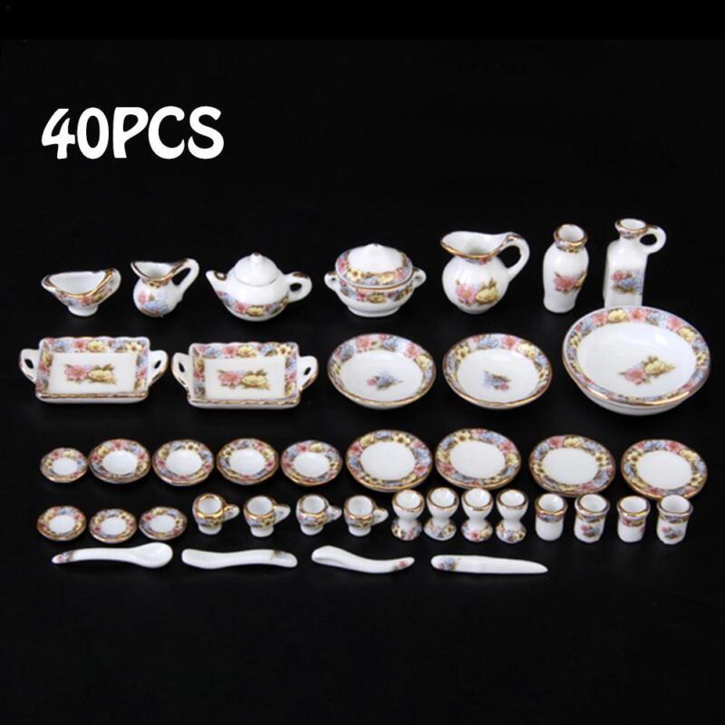 40pcs 1/12 Dollhouse Miniature Dining Ware Porcelain Tea Coffee Dish Cup Plate