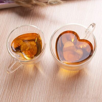 Double Wall Clear Glass Tea Coffee Cup Heat-resistant Thermal Mug Cups Heart