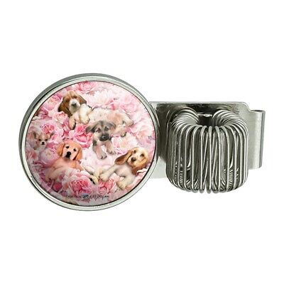Puppies Dogs Pink Flowers Pattern Pen Holder Clip For Planner Journal Book