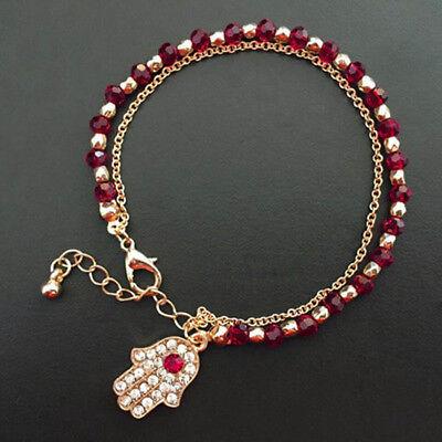 Hamsa Fatima Hand Armband Gold 18cm + 3cm mit weiße Strass und rote Kristall