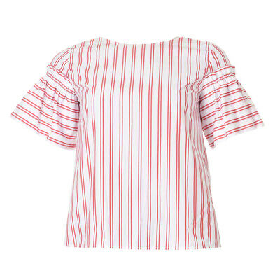 iBLUES MAX MARA Top White & Red Stripe Short Sleeved RRP £99 BG