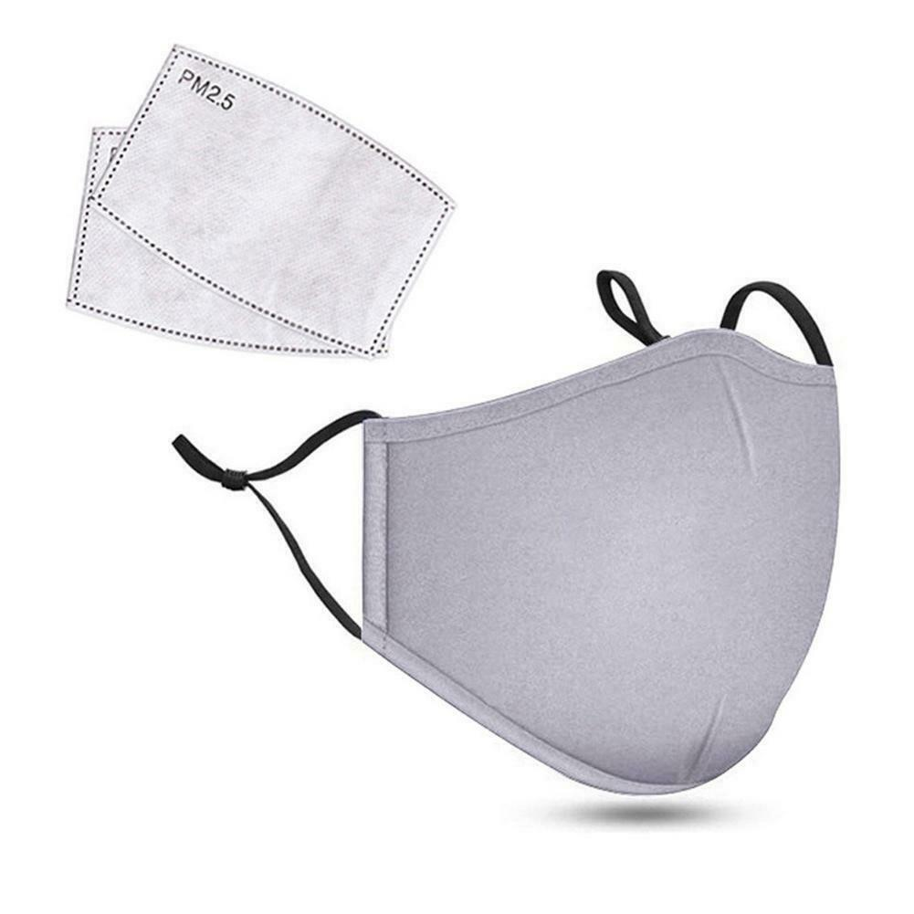 Cotton Washable Reusable Outdoor Face Cover 2 Pcs Filter Paper Facial Guard