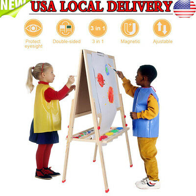 Height Adjustable children's Easel Blackboard Whiteboard and Magnets All in - Kids Painting Easel