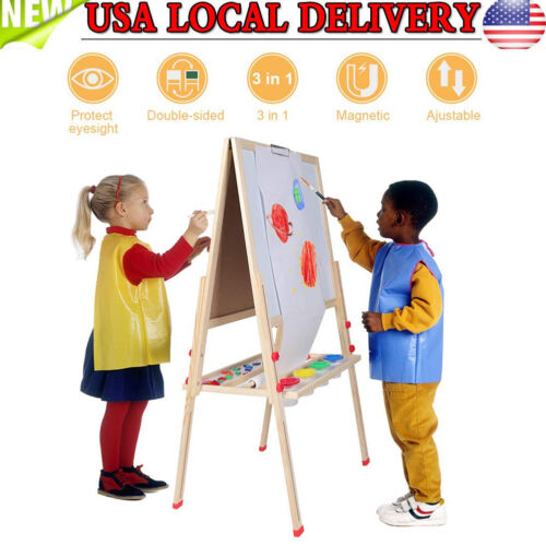 Height Adjustable children's Easel Blackboard Whiteboard and