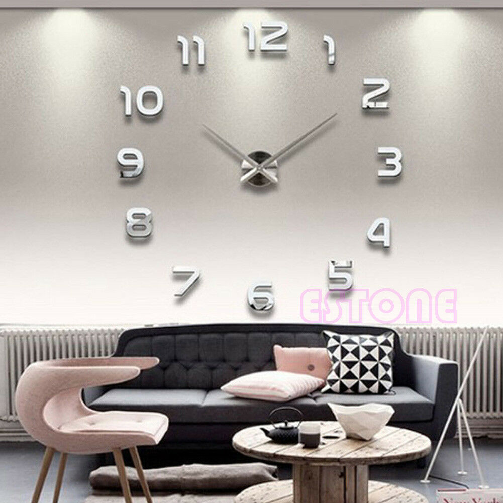 DIY Large 3D Number Mirror Wall Sticker Home Big Watch Art Clock Decor
