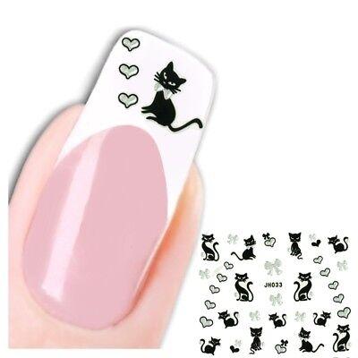 3d Nail (3D Nagel Sticker Katze Cat Schleife Heart Aufkleber Nail Art)