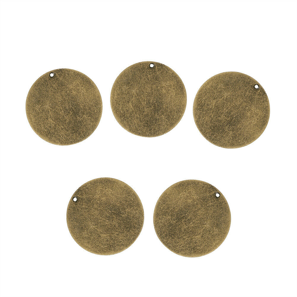 5pcs Antique Bronze Round Metal Tags Stamping Blank Tag Charms Pendants 34x0.5mm