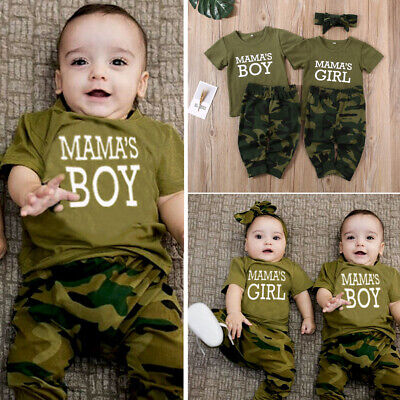 Newborn Toddler Baby Boy Girl Summer Short Sleeve Outfits T-shirt Pants Clothes
