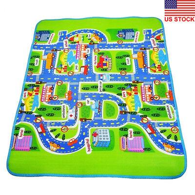 DV_ Giant Kids City Playmat Fun Town Cars Play Road Carpet Rug PE Toy - Town Rug