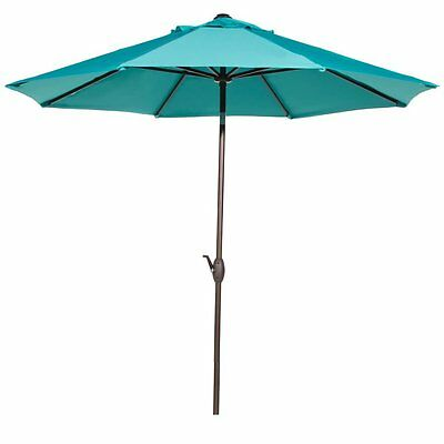 9 Ft Outdoor Patio Market Table Umbrella with Auto Tilt and Crank,Turquoise