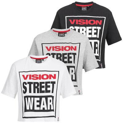 Vision Street Wear Damen Fitness Crew Neck Cropped Training Tee Shirt CL3103 neu
