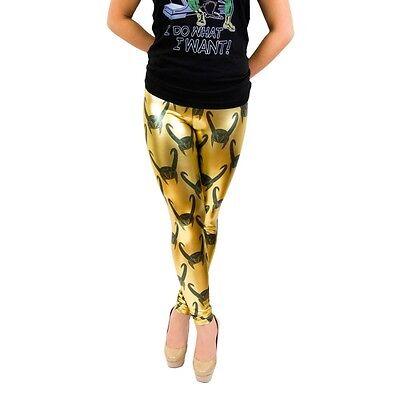 Juniors Marvel Comics Villain Loki All Over Helmet Print Gold Foil Leggings - Female Villains Marvel