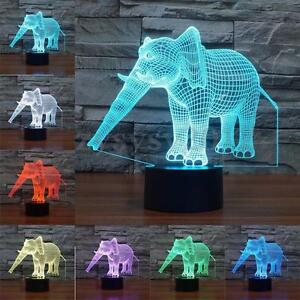 3D Elephant Illusion Night Light 7 Color Change LED Table Desk Lamp Xmas Decor
