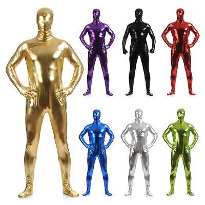 Men Metallic Shiny Full Body Suit Zipper Jumpsuit Zentai Cosplay Catsuit Costume (Full Body Cat Suit)
