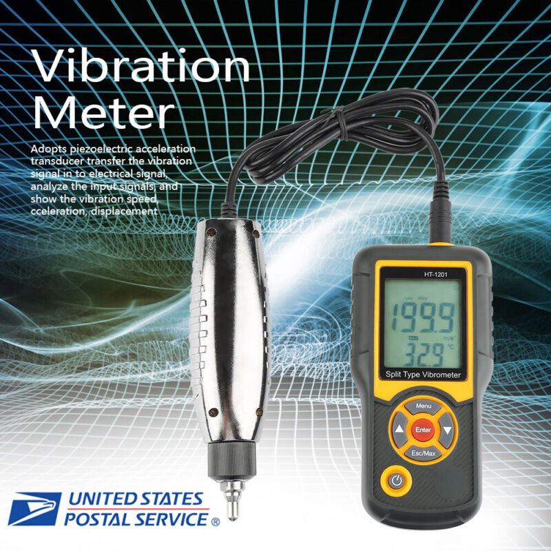 HT-1201 Digital Split Type Vibration Meter Tester Vibrometer Sensor Gauge