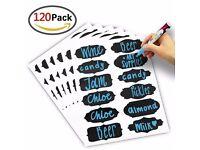 120 Piece Reusable Chalkboard Labels Kit with Blue Liquid Chalk Marker Pen for Jar