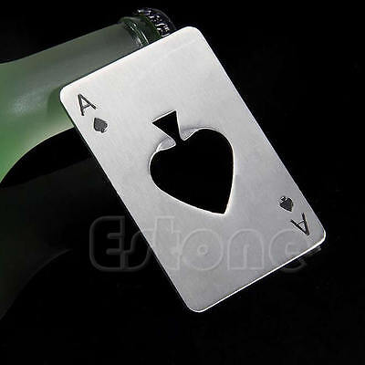 Playing Card Ace of Spades Poker Bottle Soda Beer Cap Opener Home Bar Tool Gift