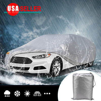 19ft Full Car Cover Silver Waterproof Sun UV Rain Snow Dust Resistant Protection