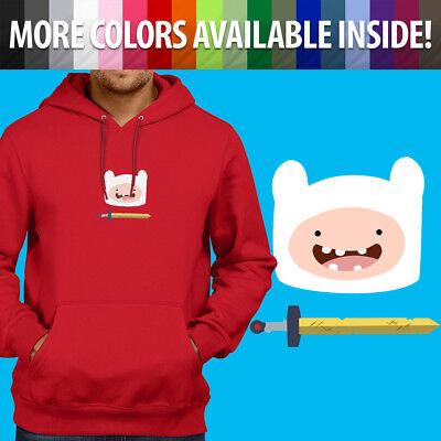 (Adventure Time Finn Human Scarlet Sword Hero Pullover Sweatshirt Hoodie Sweater)