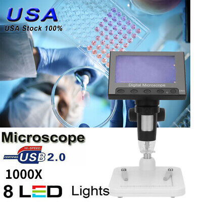 1000x 5mp Microscope 4.3 Lcd Display 8led Digital Magnifier With Holder Lab