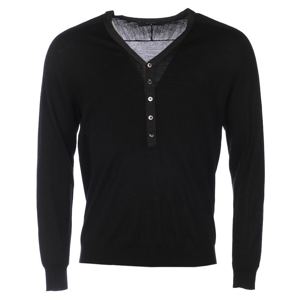 Wool V-Neck Button Sweater