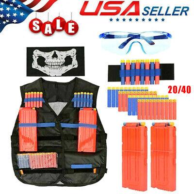 Vest Kids Tactical Foam Darts Glasses Kit Set For N-Strike Gun 40PCS