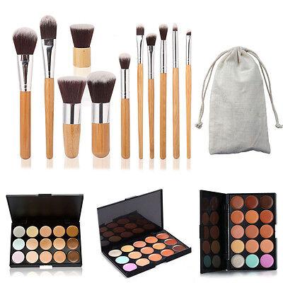 15 Colors Contour Face Cream Makeup Concealer Palette + 11PC Bamboo Brush Set