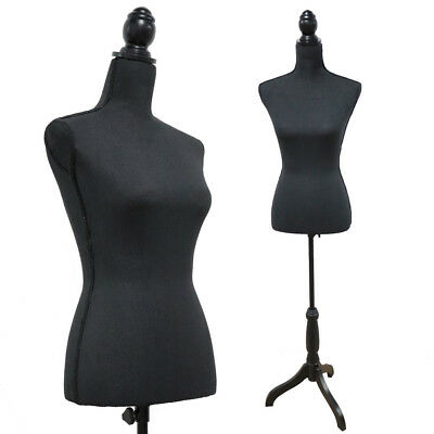 Black Female Mannequin Torso Dress Form Tripod Stand Clothing Display