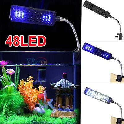 - 48 LED Aquarium Fish Tank Clamp Clip Lamp Light White&Blue Color Lighting New