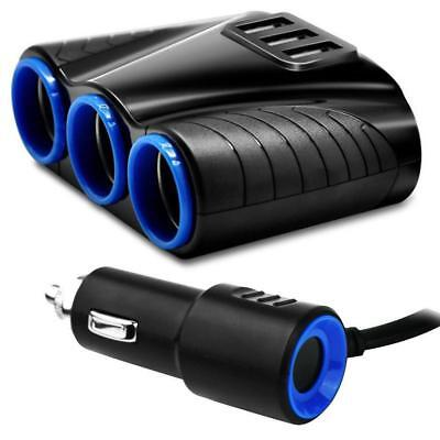 3way Car Cigarette Lighter Socket Splitter12V Dual USB Charger Power Adapter PW Car Power Socket