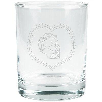 Sugar Skull Male (Valentines Male Sugar Skull Etched Glass)