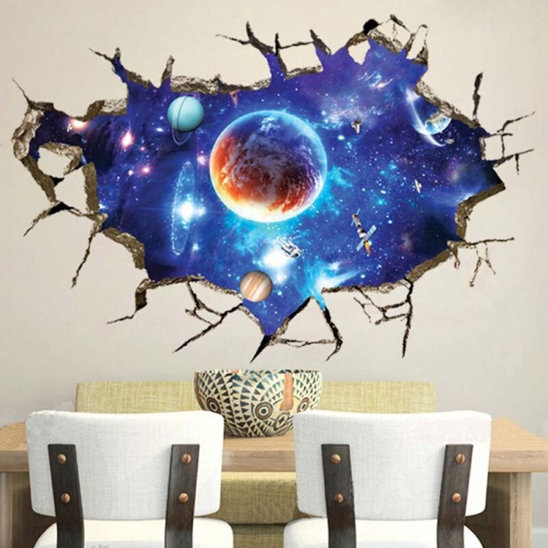 Home Decoration - Space Galaxy Planets Universe 3D Wall Sticker Living Room Bedroom Home Decor EZ