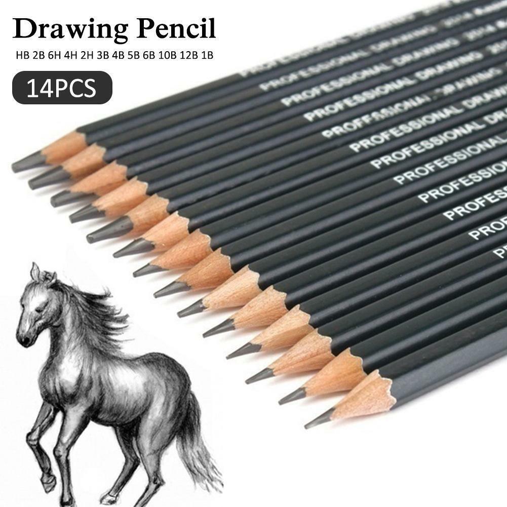 14 Pcs Pencils Drawing Sketching Tone Shades Art Artist Picture Pencil Draw Set