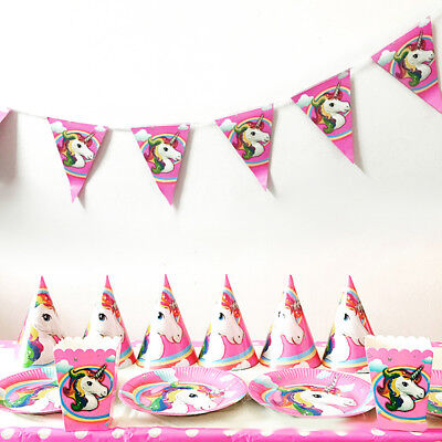 Unicorn Theme Party Supplies Decor Happy Birthday Paper Cup Plate Hat Current