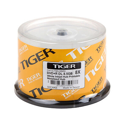 300 Pack Tiger Dvd+r Dl Dual Double Layer White Inkjet Hu...