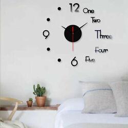 3D Wall Clock Large Mirror Acrylic Sticker DIY Quartz Needle Living Room Decor