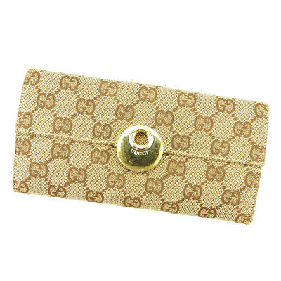 Auth GUCCI purse Wallet GG canvas ladies used T3885