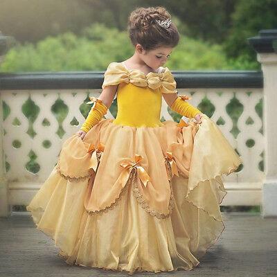 Yellow Dress Costume (2019 New Belle Girls Dress Yellow Princess Cosplay Costume Birthday Party)