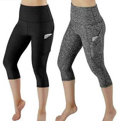 Women 3/4 Capri YOGA Pants Pocket Gym Sport Fitness Cropped Leggings Workout A69